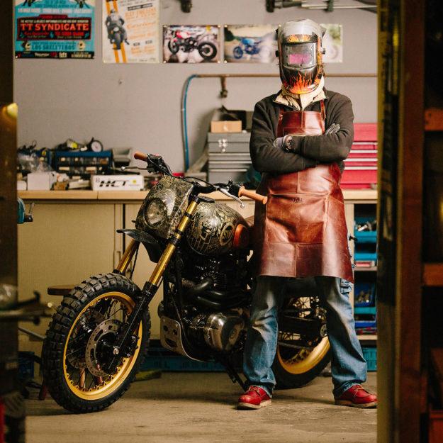 Tattoo You: A heavily inked Kawasaki W650 scrambler by Schlachtwerk