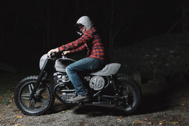 A Honda CX500 customized with basalt stone bodywork by Chris Zernia of Germany.