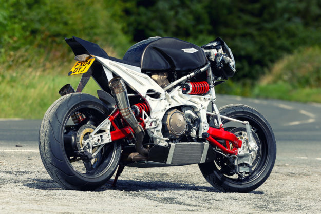 Not your average shed build: An Aprilia-powered brute with hub-center-steering.