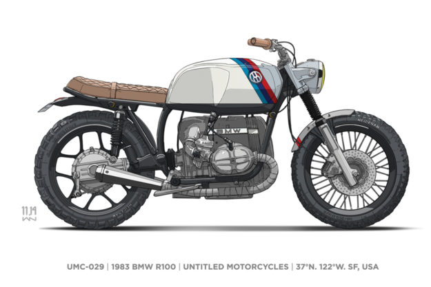 A custom BMW R100 by Untitled Motorcycles. Illustration by Ian Galvin.
