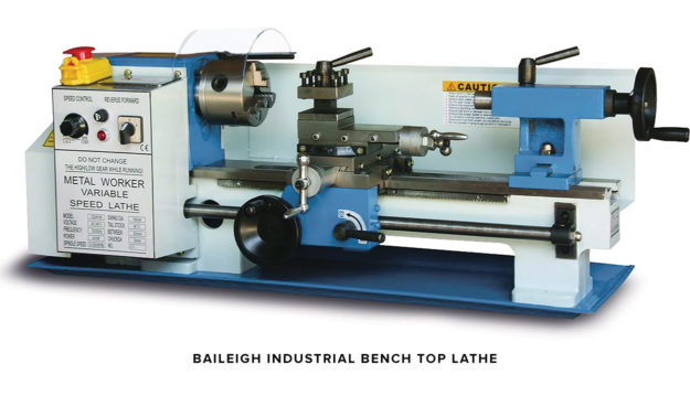A Baileigh Industrial bench top lathe, ideal for motorcycle work.