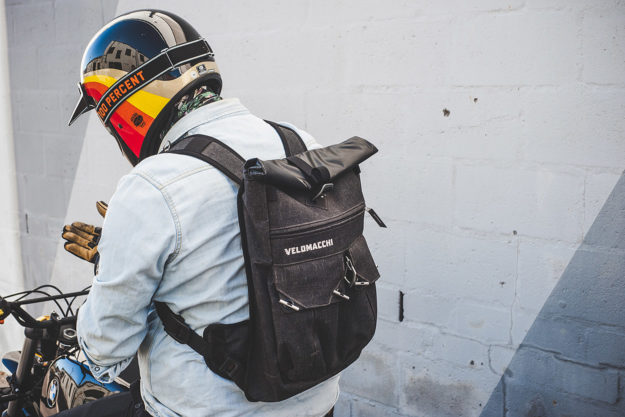 Velomacchi Speedway roll-top motorcycle backpack review