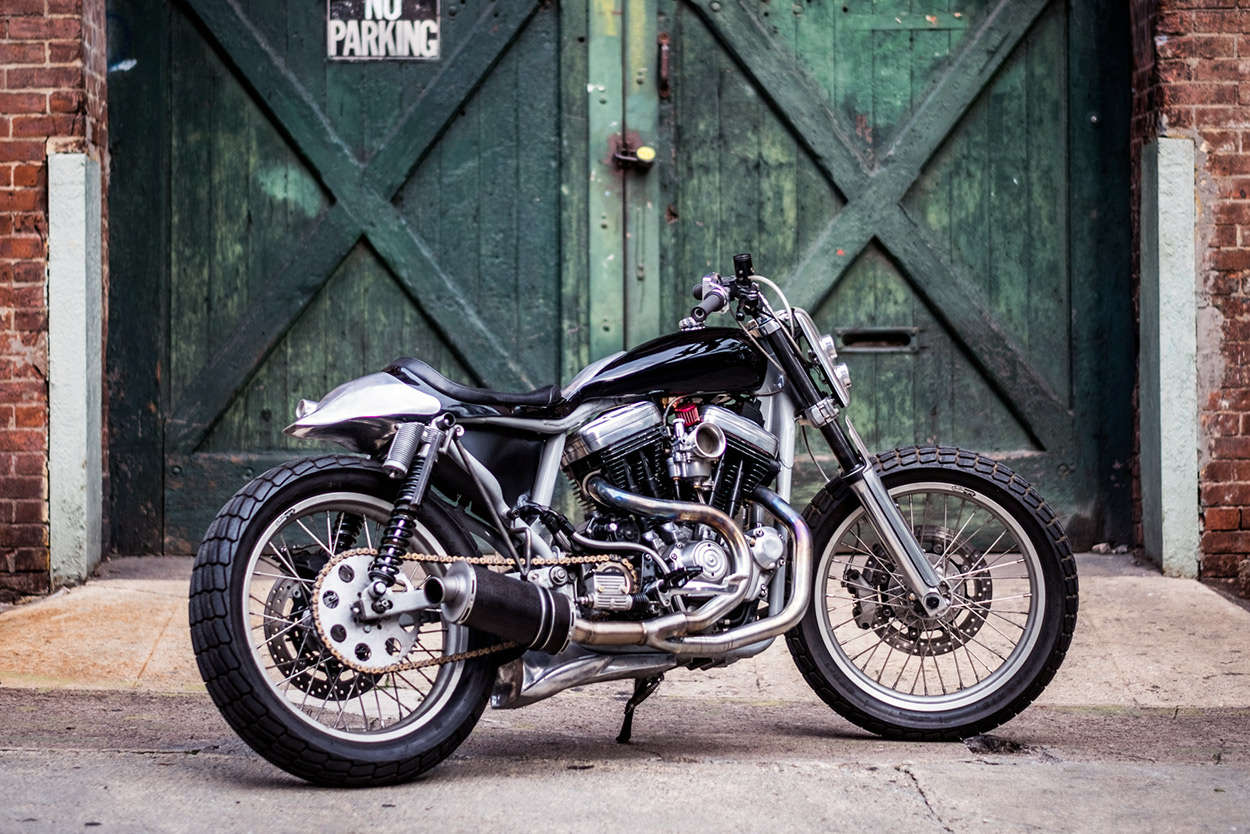 This Harley 883 Sportster tracker is a daily rider as well as a Brooklyn Invitational show bike.
