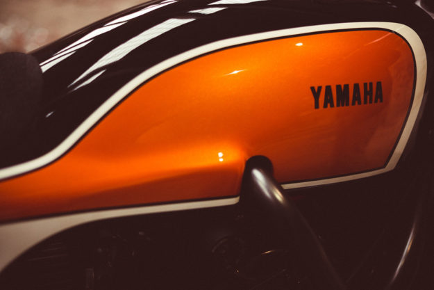Juicy: Jigsaw's candy orange Yamaha XSR700 tracker