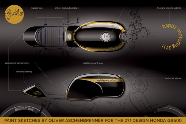 Paint sketches by Oliver Aschenbrenner for the 271 Design Honda GB500