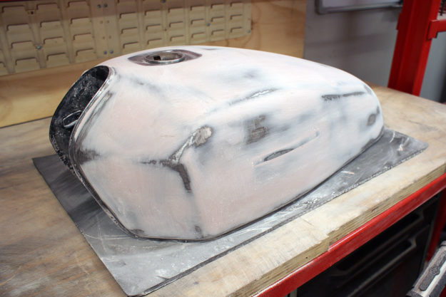 Sanding down a motorcycle tank