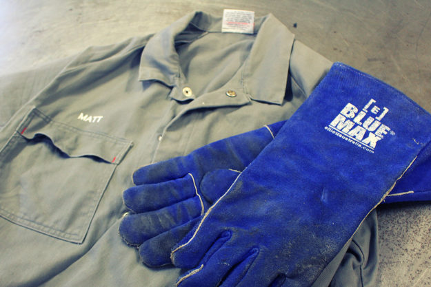 Matt MacLeod's welding overalls and gloves