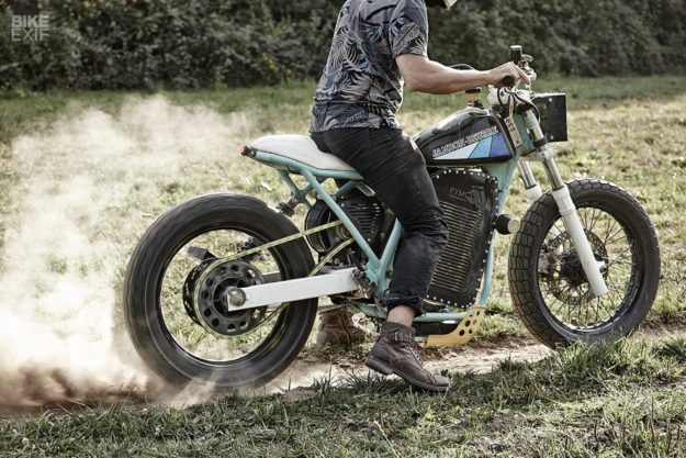 Custom electric tracker motorcycle with military drone powerplant