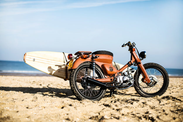 Honda Cub clone with surfboard rack by KRUK