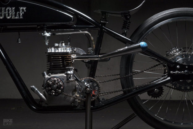 This board tracker motorcycle from Wolf Creative Customs is powered by a Briggs and Stratton engine