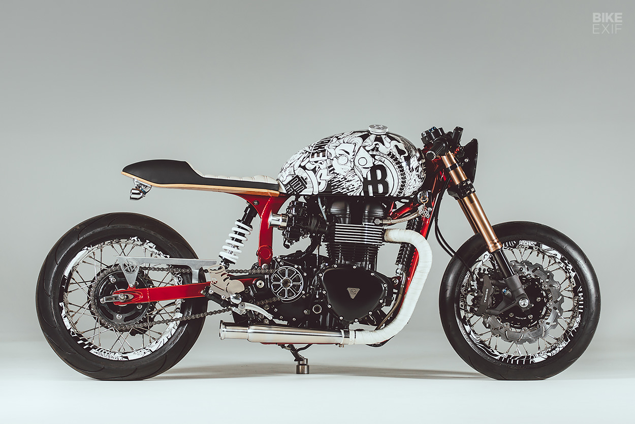 A Triumph Thruxton cafe racer with a street art vibe by Hands Bruechle