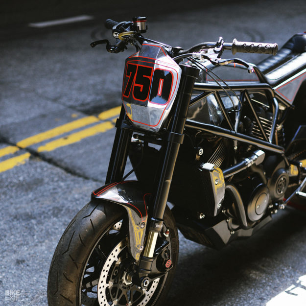 A stripped-down Harley-Davidson Street 750 flat tracker from Suicide Machine Company