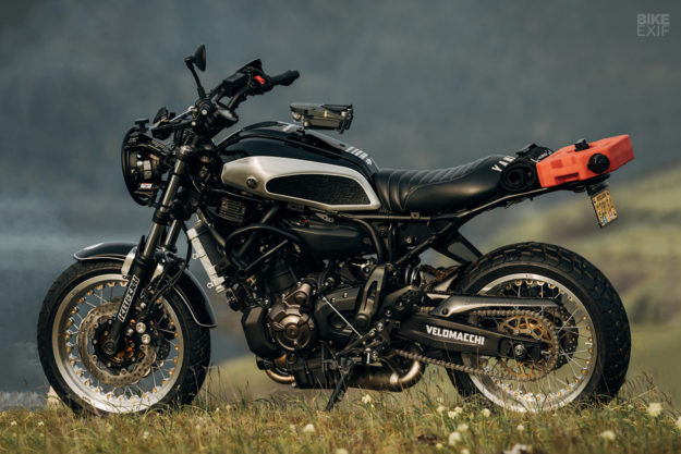 Rural Racer: Velomacchi's trail-ready Yamaha XSR700 scrambler is even equipped with a drone