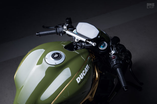 A Ducati Monster 1200 R with 24K gold accents, by Diamond Atelier