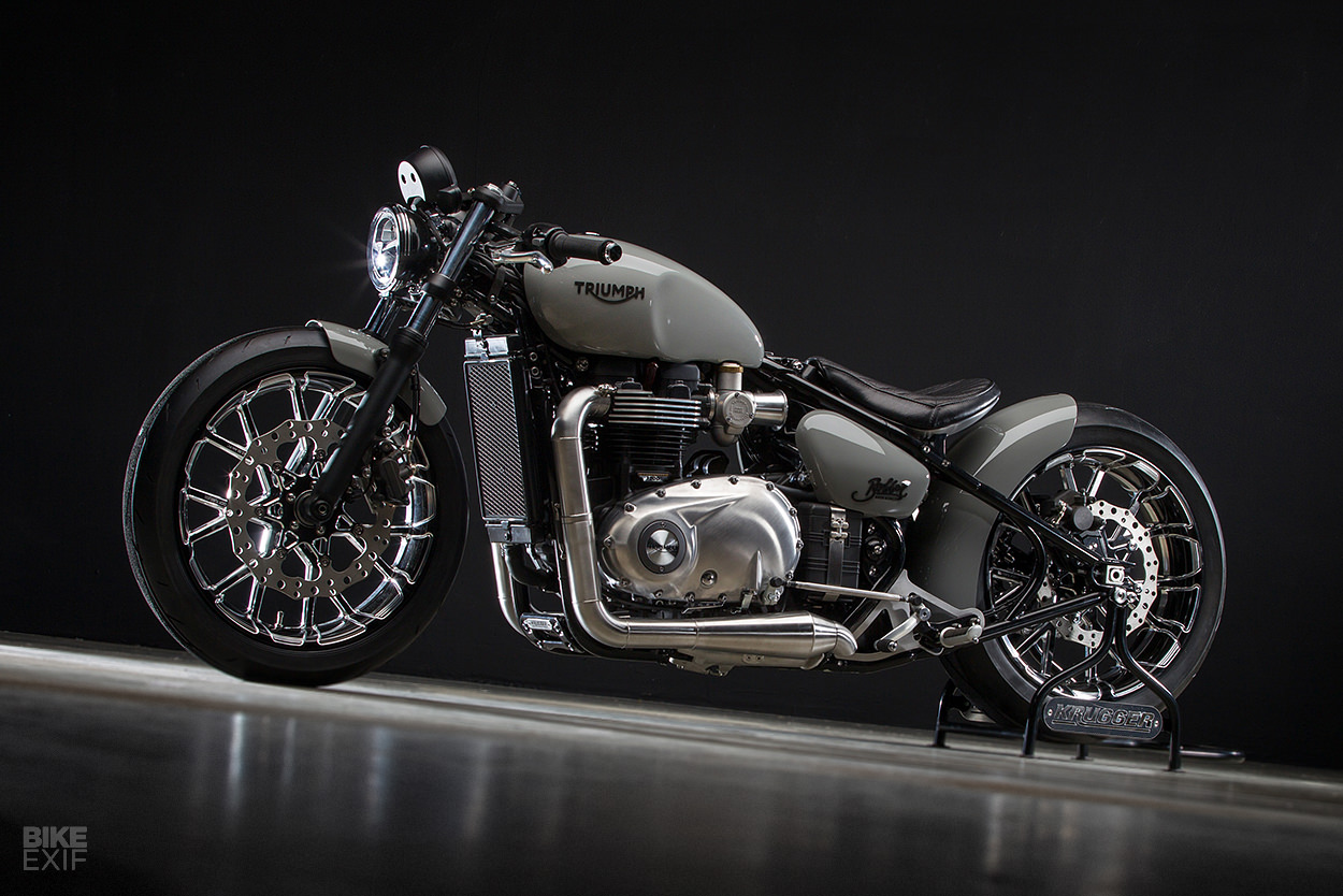 A custom Triumph Bobber hardtail by Krugger