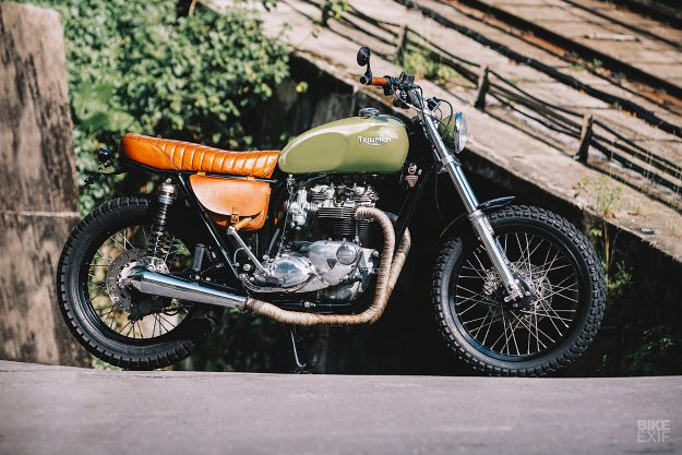 A modified Triumph T140 from Hong Kong, built by Angry Lane