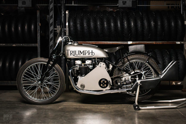 In 1938, Ivan Wicksteed supercharged this Triumph Speed Twin and lifted the Brooklands circuit speed record with a 118 mph lap.