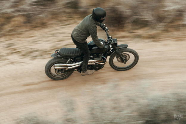 Custom Triumph Bonneville Scrambler owned by Ben Giese, editor of Meta Magazine