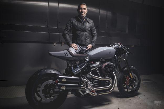Sacha Lakic and his Harley-Davidson Fat Bob custom