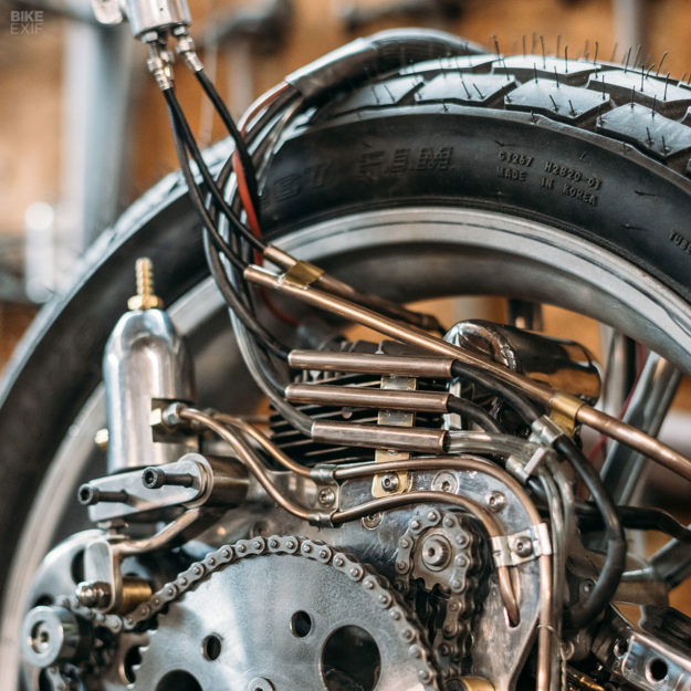 Motorcycle art: A front-wheel-drive motorcycle by Rodsmith for the Haas Museum