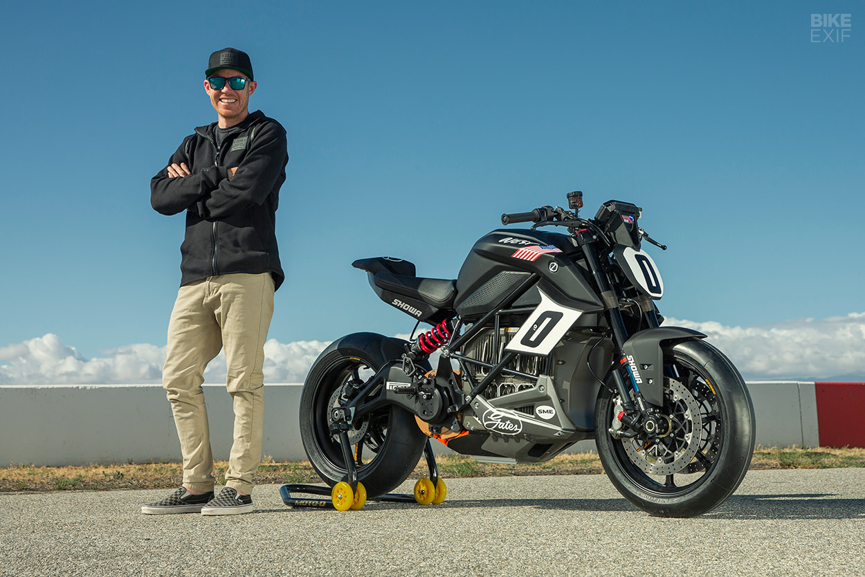 AMA racer Cory West with the 2019 Pikes Peak Zero SR/F electric racing motorcycle