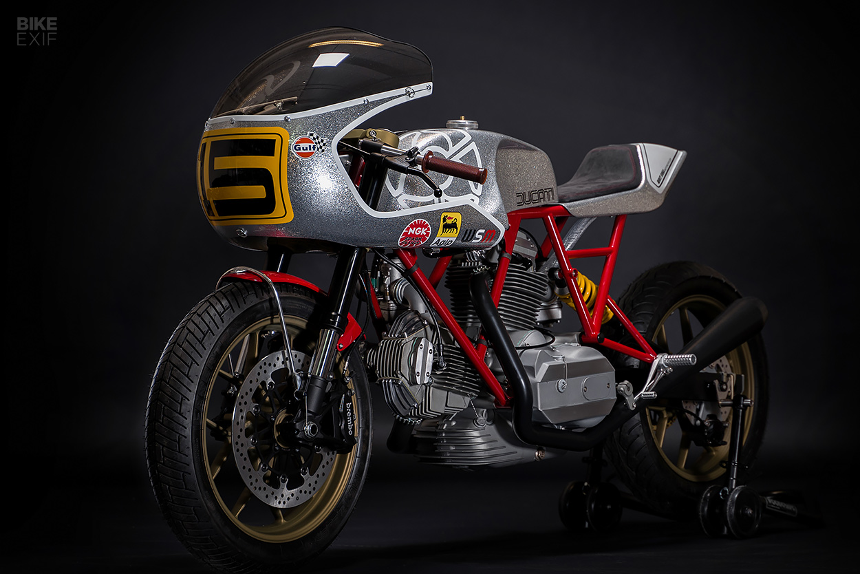 Square case Ducati bevel engine custom by Walt Siegl