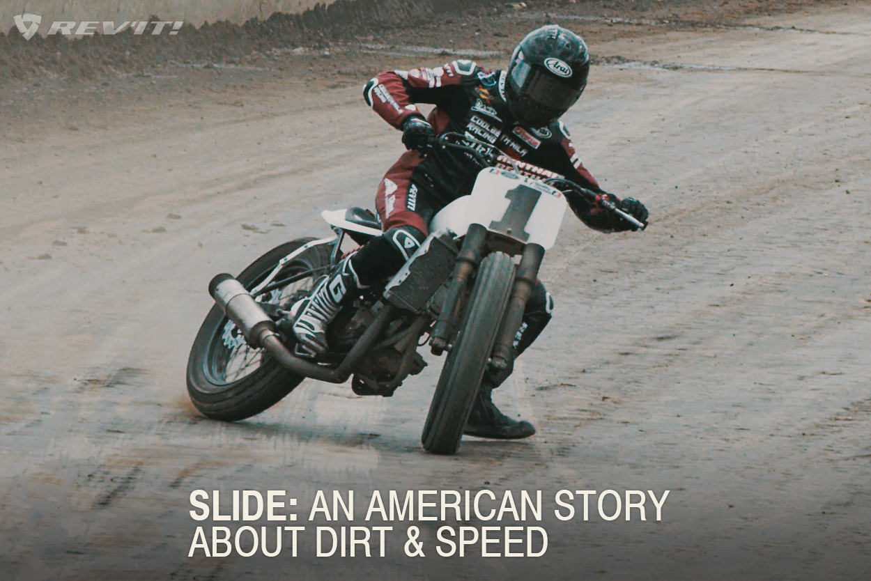 Slide: A flat track motorcycle racing video