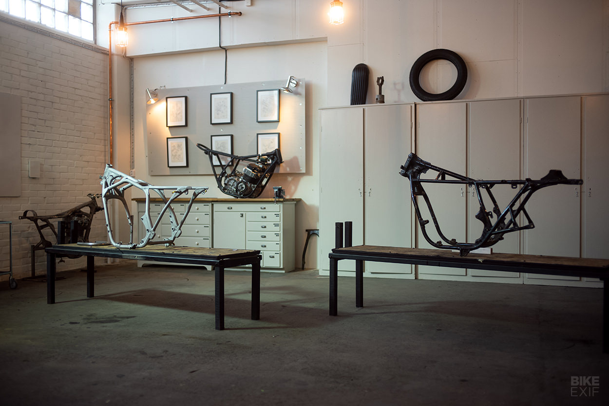 Two vintage cafe racer frames from PAAL Motorcycles of Sweden