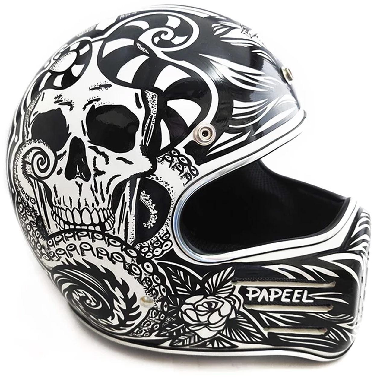 Custom motorcycle helmet by designer Pamela Reis of Papeel