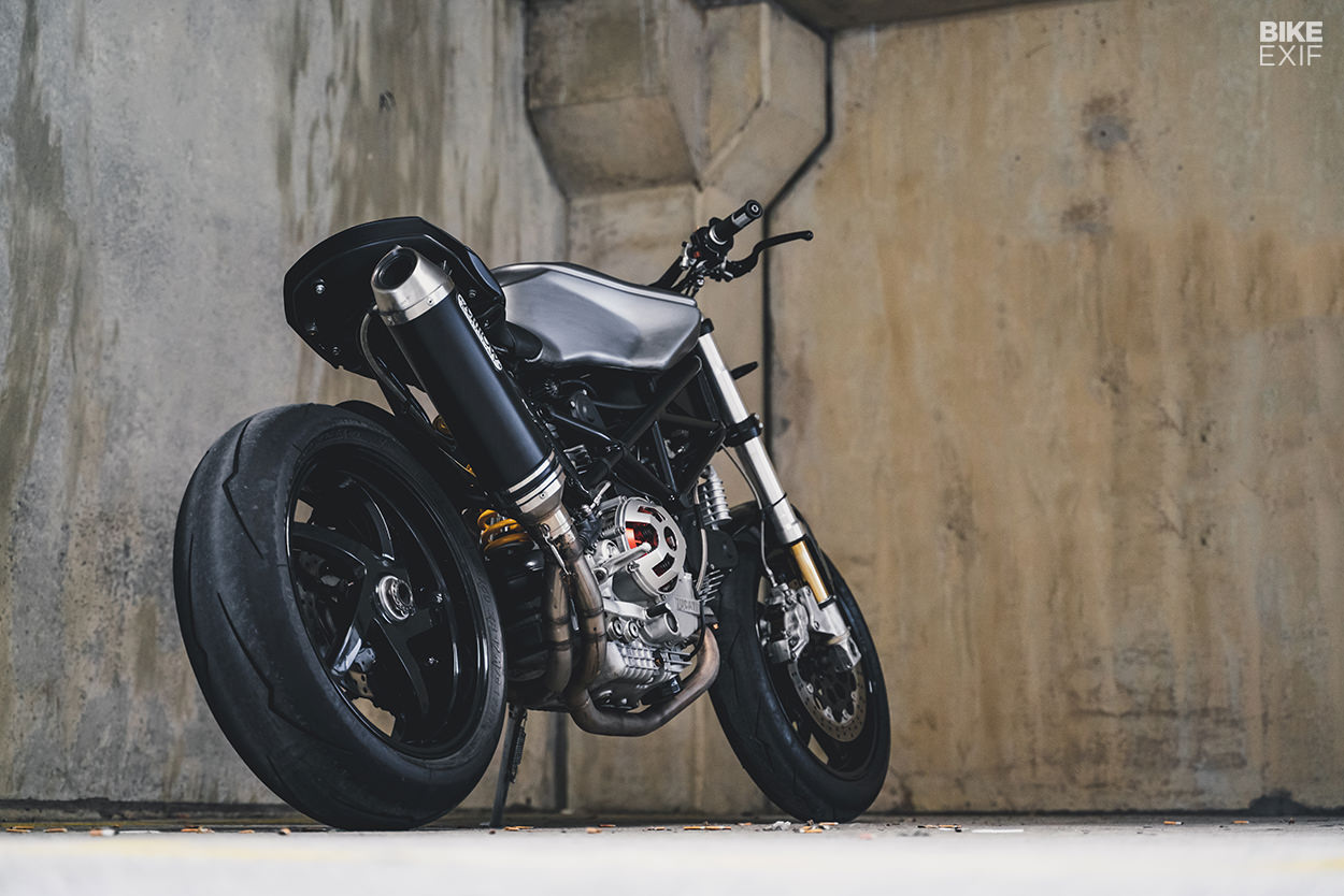 A most unusual custom Ducati built from 900SS, Monster S4R and ST2 parts.