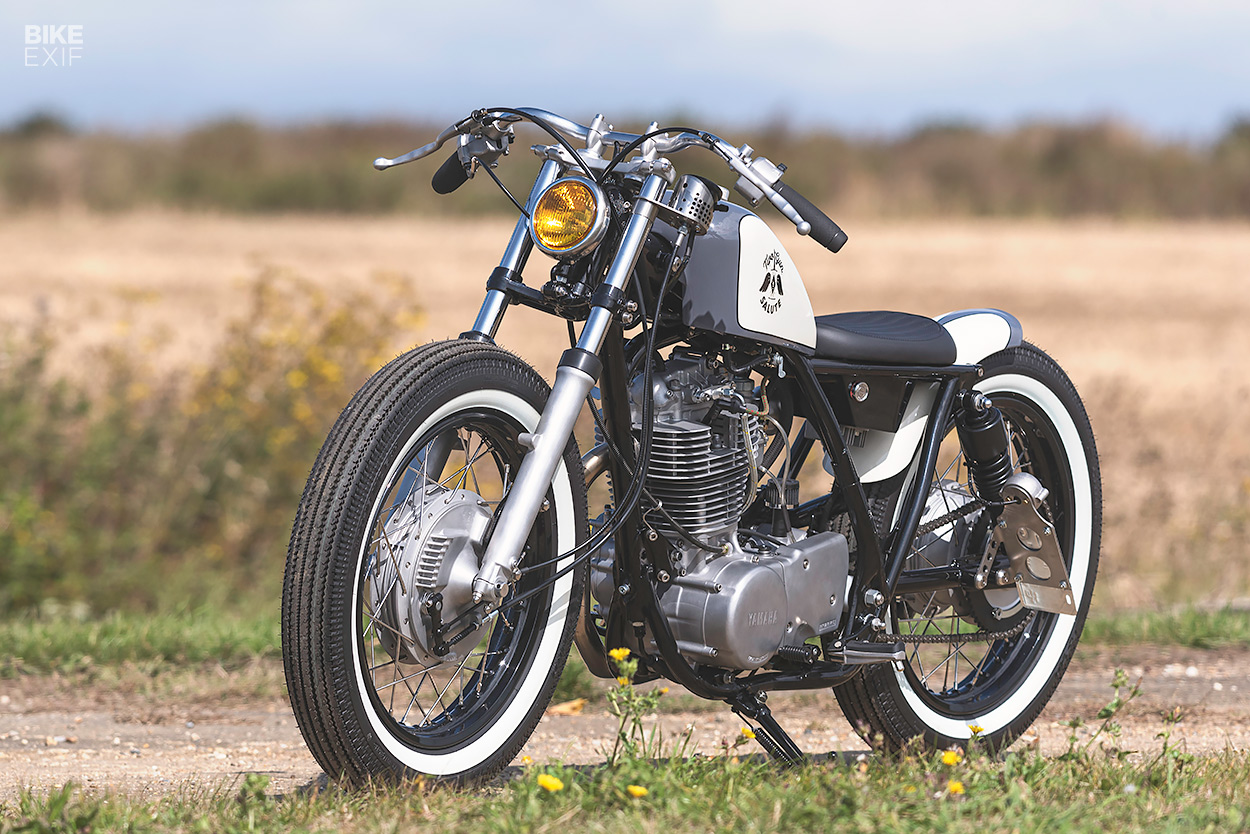 A Japanese-style Yamaha SR400 bobber made in England