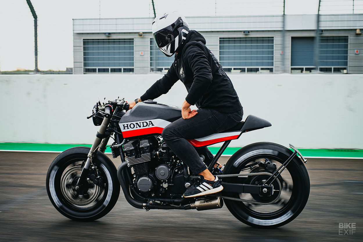 Hot stuff: A Honda CBX 750 F cafe racer built by a firefighter