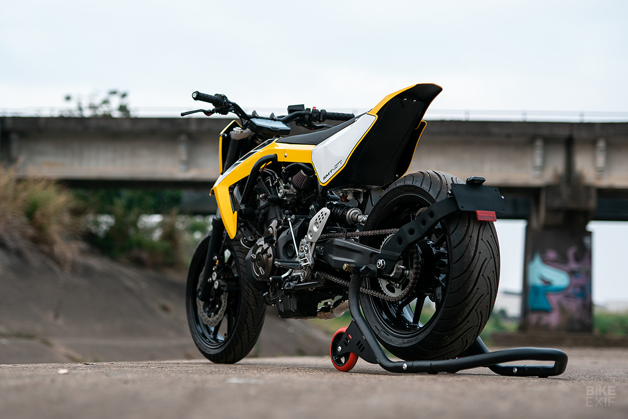 A custom 2017 Yamaha MT-07 with a supermoto vibe from Queensland