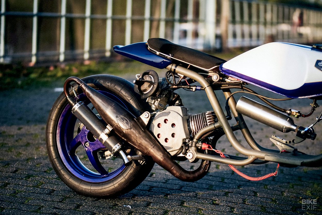 A NOS-fuelled Piaggio NRG built for scooter drag racing