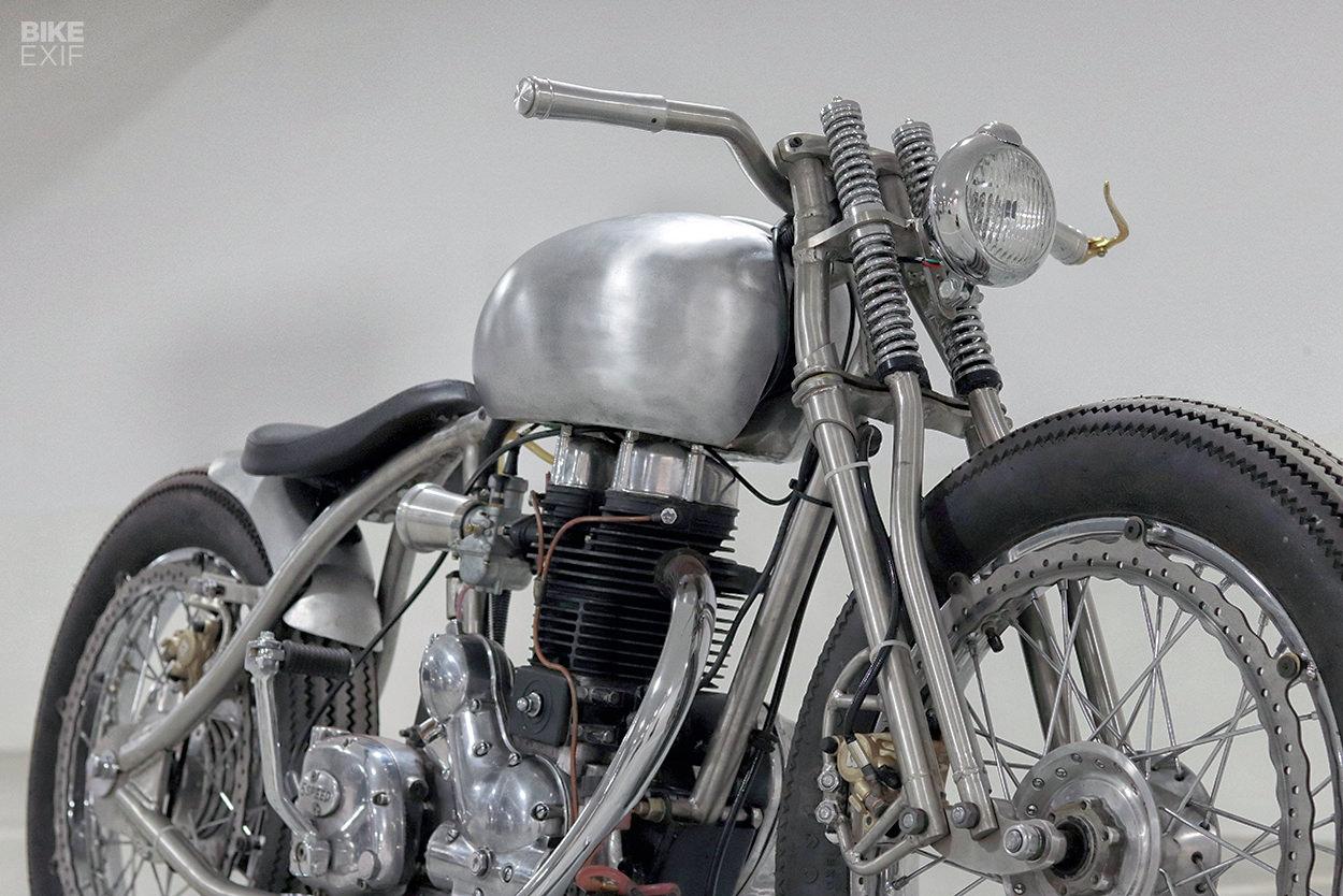 Bare metal custom Royal Enfield Electra 350