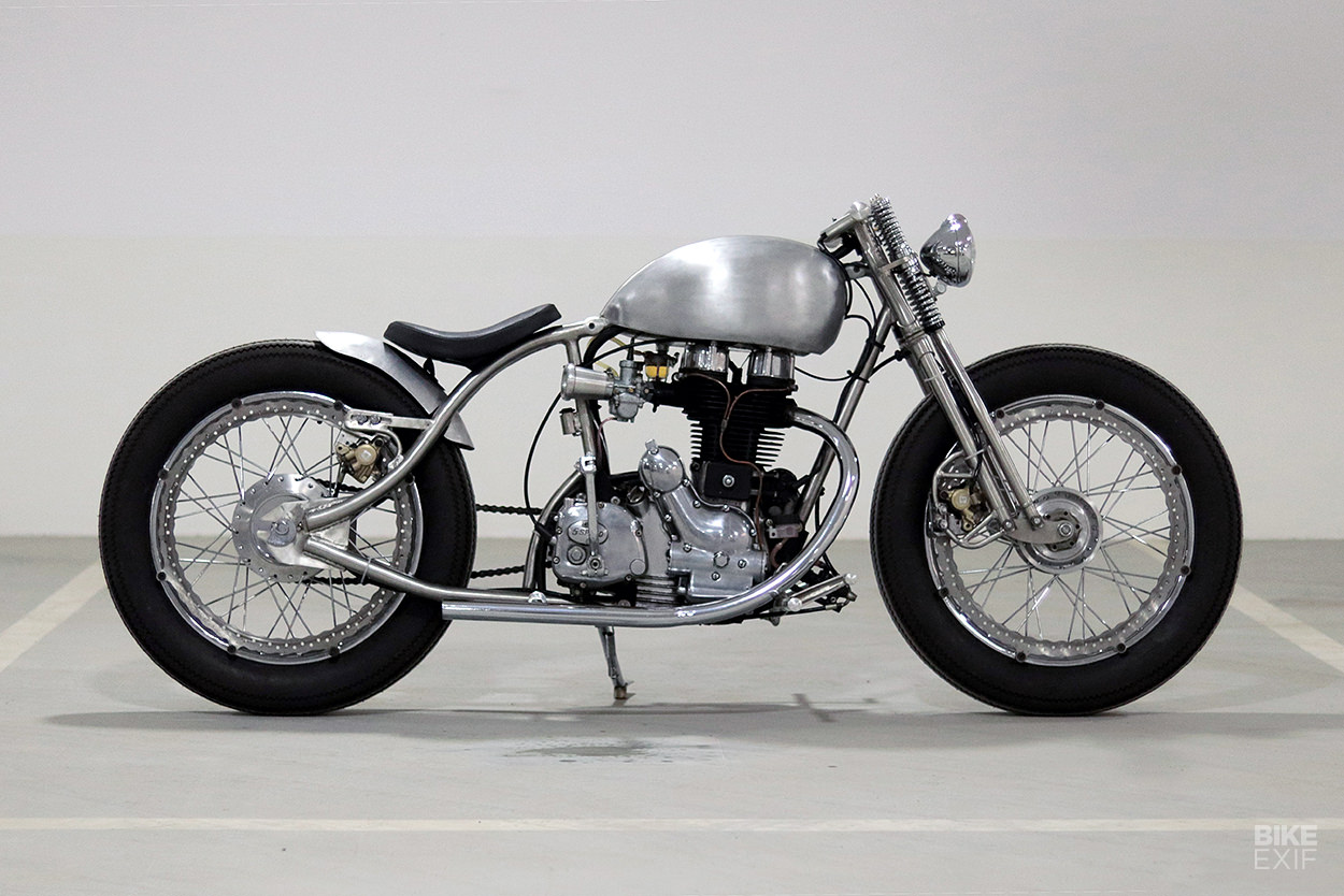 Bare metal custom Royal Enfield Electra 350 by J&D Custom Co.