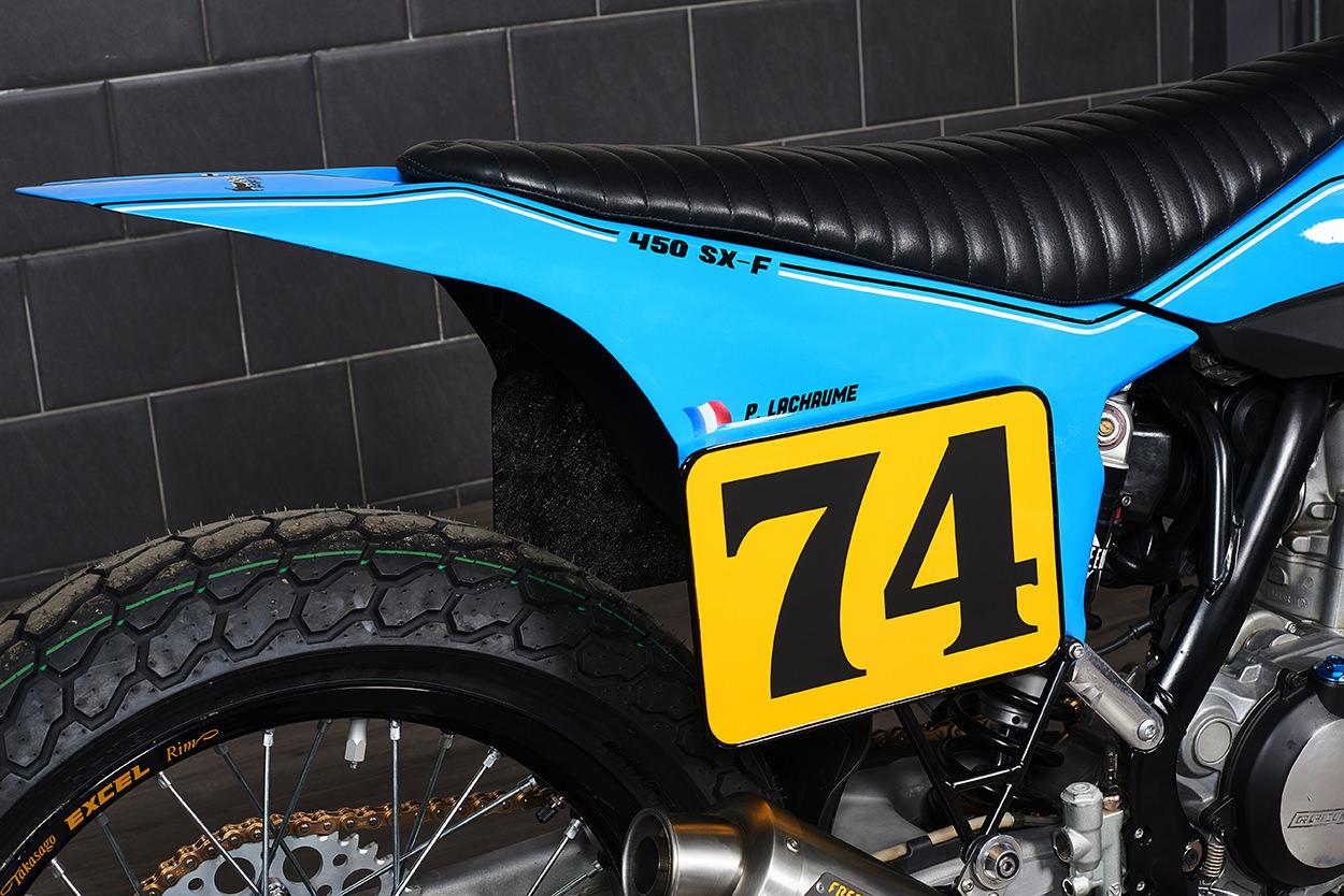 A KTM 450 flat tracker built for a Dakar Rally racer