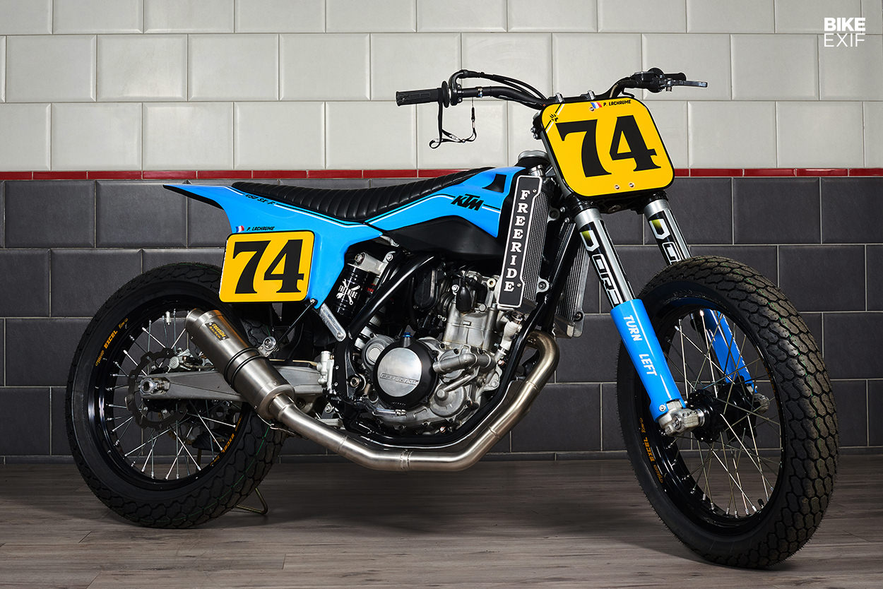 A KTM 450 flat tracker built for a Dakar Rally racer