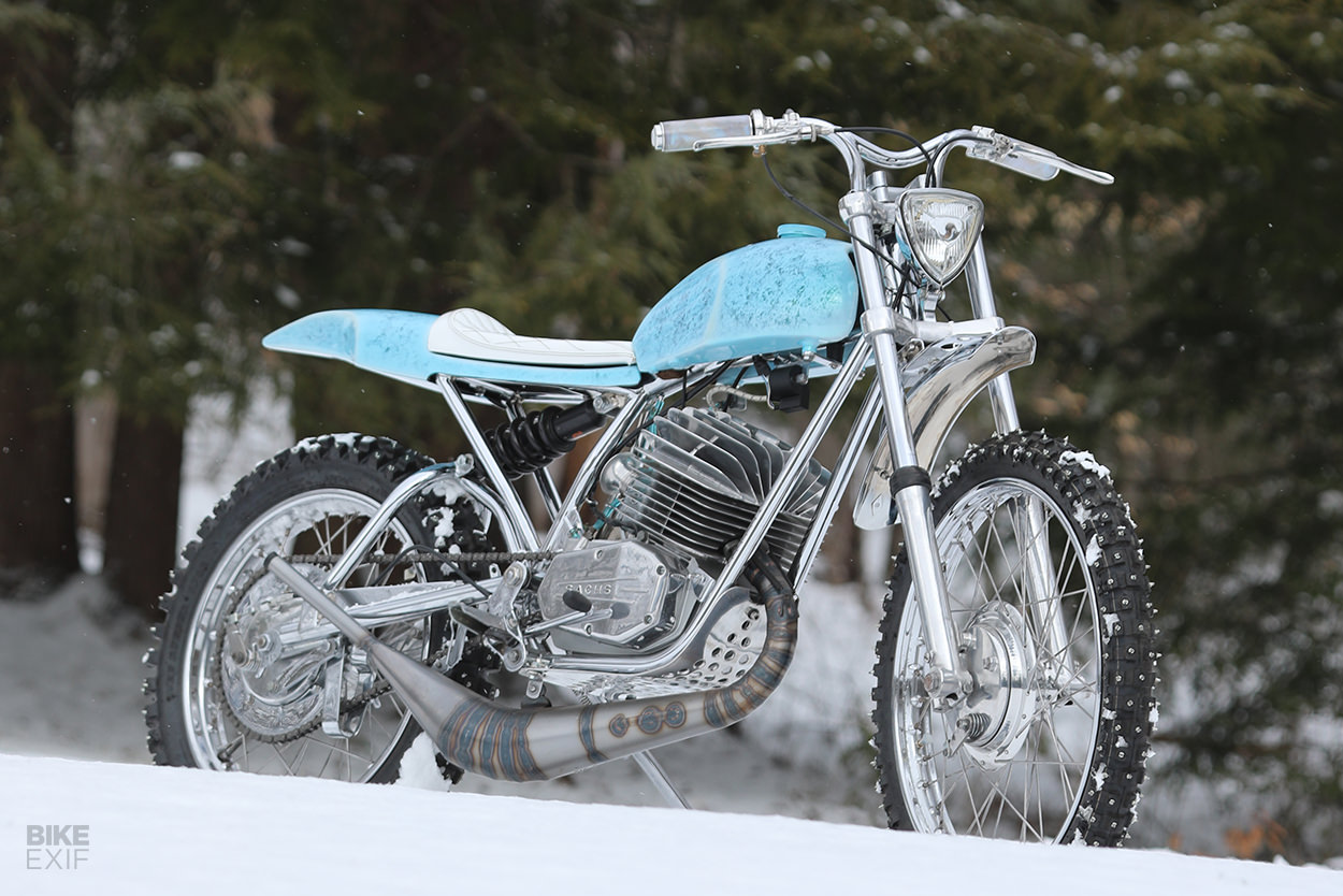 Snow motorcycle: A Penton with studded ice tires