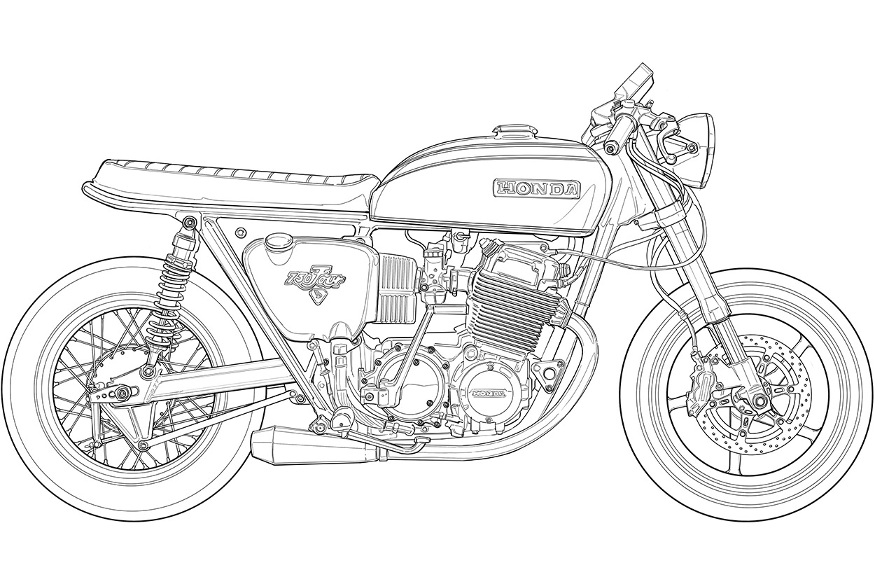 Classic road motorcycle coloring page | Coloring pages, Free ... | 834x1250