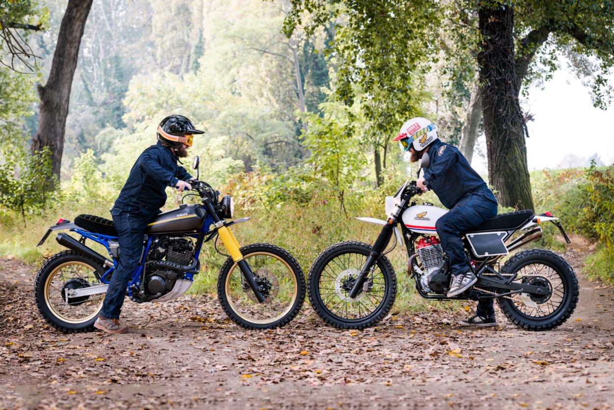 A pair of Honda and Yamaha retro scramblers from North East Custom