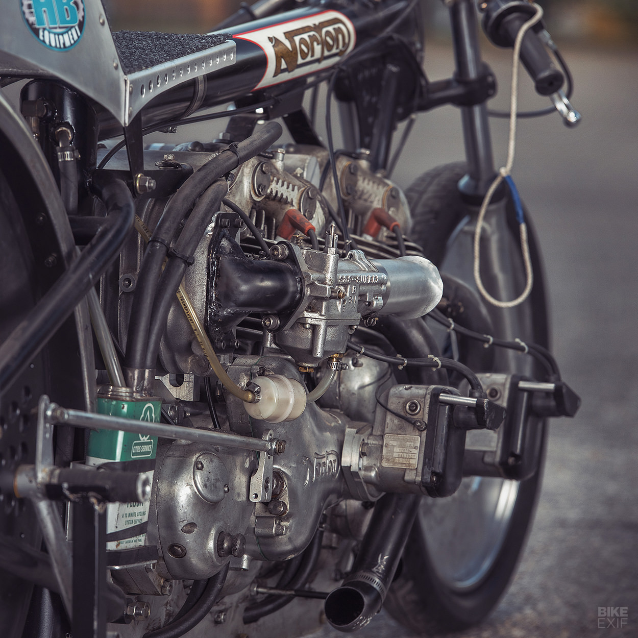 Supercharged twin-engine Norton drag bike by Herb Becker