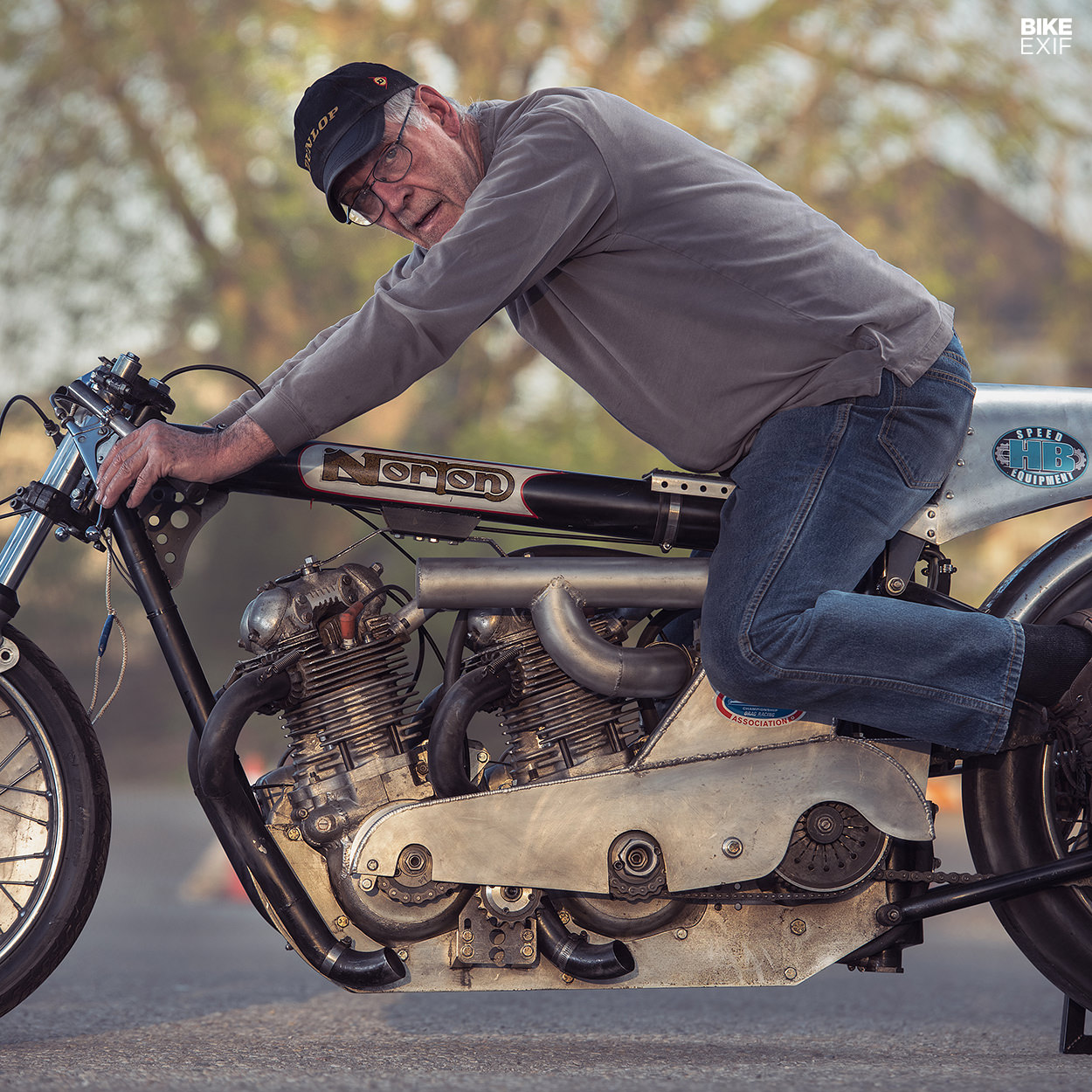 Herb Becker on his supercharged twin-engine Norton drag bike
