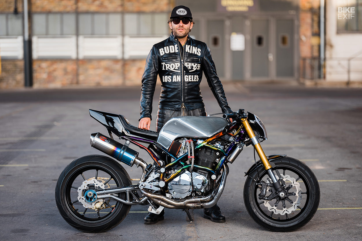 Timo LeMans and his Harris Magnum 4 streetfighter motorcycle