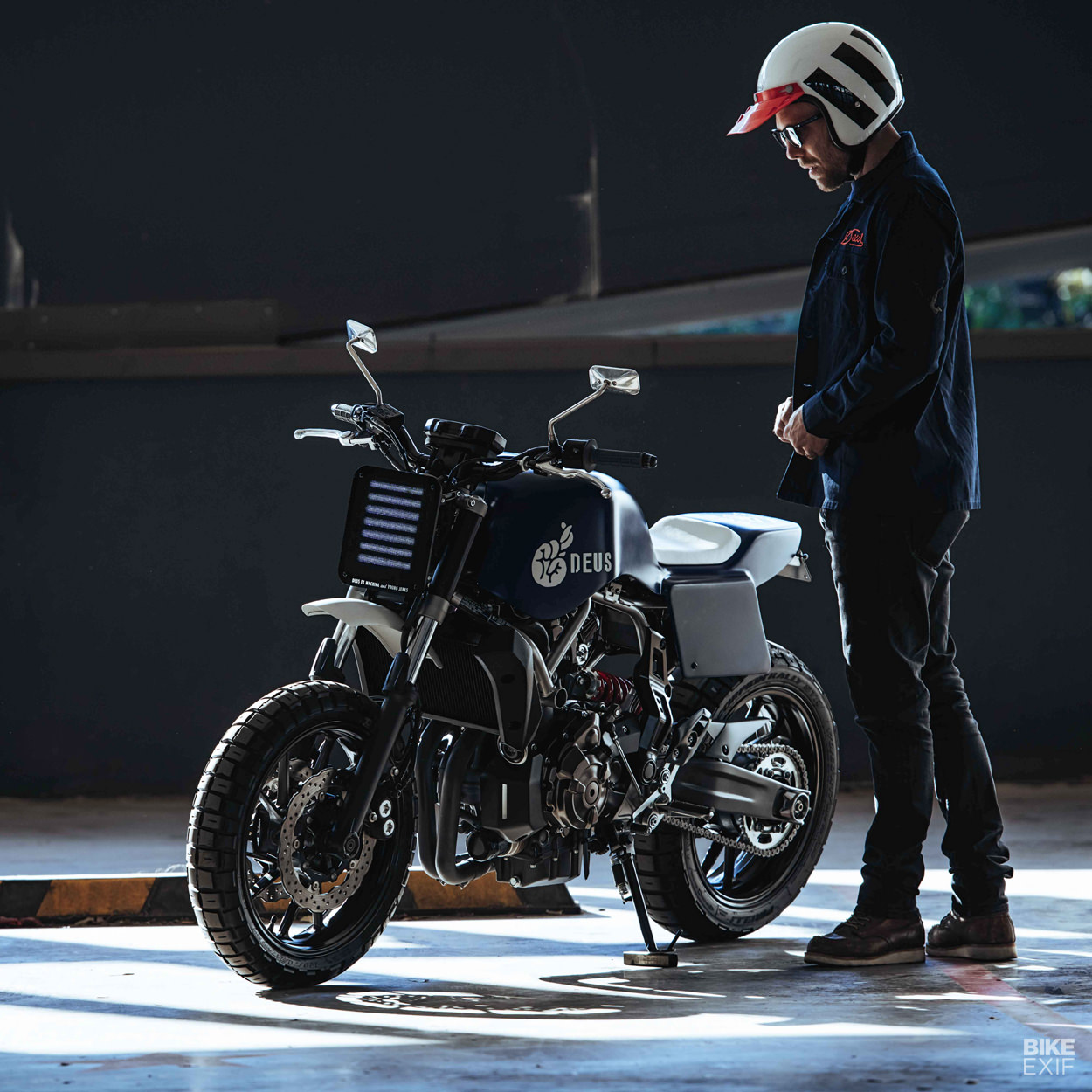Builder Jeremy Tagand of Deus, with his custom Yamaha MT-07 'The Young Jerk'