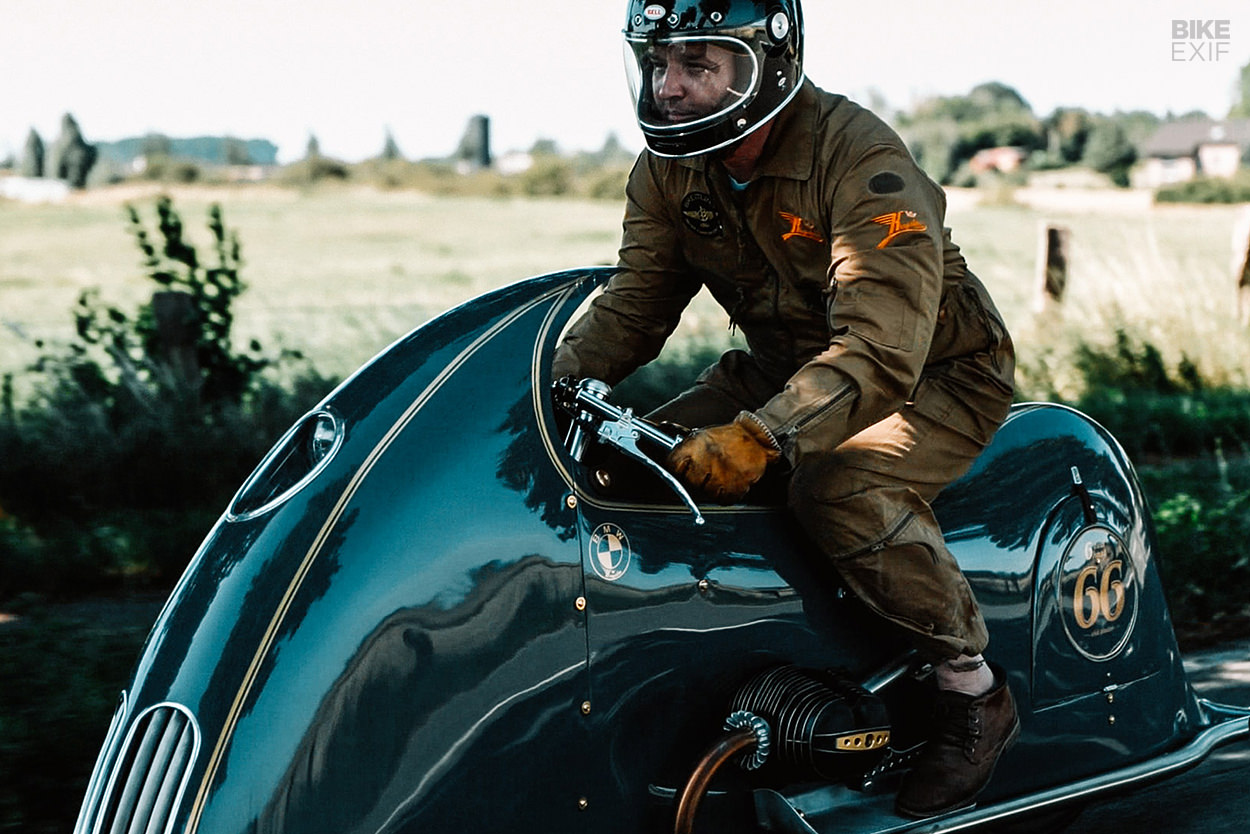 Dirk Oehlerking on his BMW art deco motorcycle 'Good Ghost'