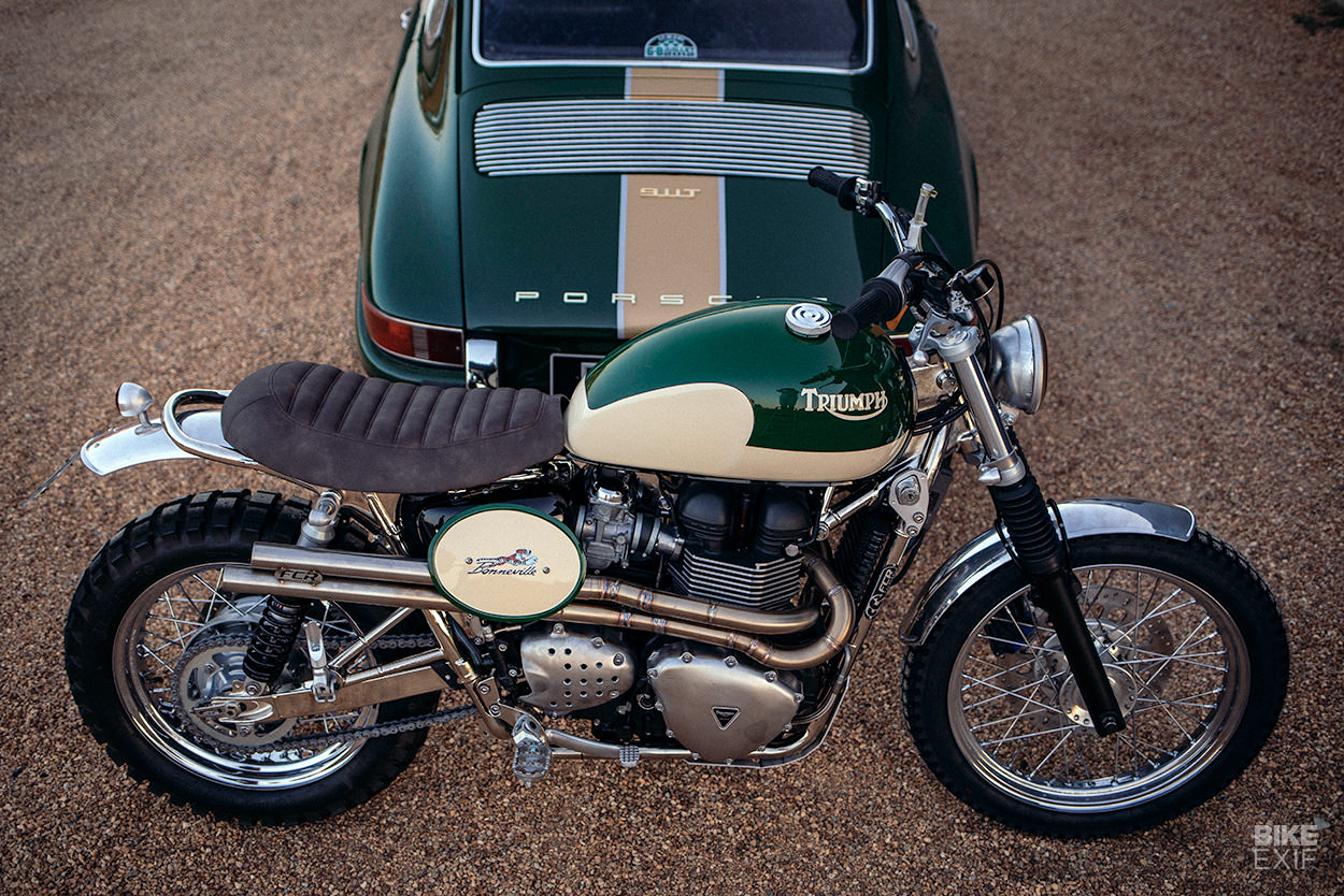 Custom Triumph T100 by FCR with a matching Porsche 911