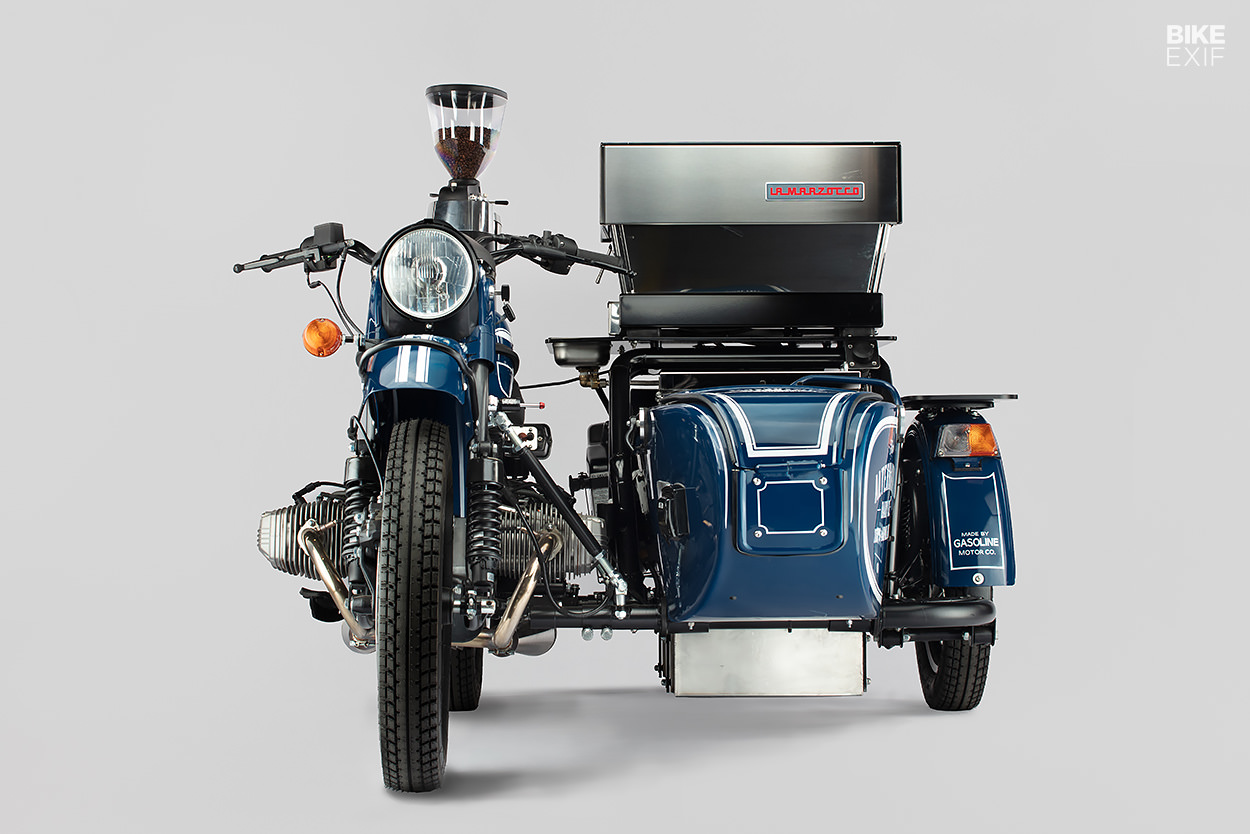 Coffee cart: A Ural motorcycle with a La Marzocco coffee machine