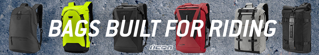 Discover the range of ICON motorcycle bags and packs