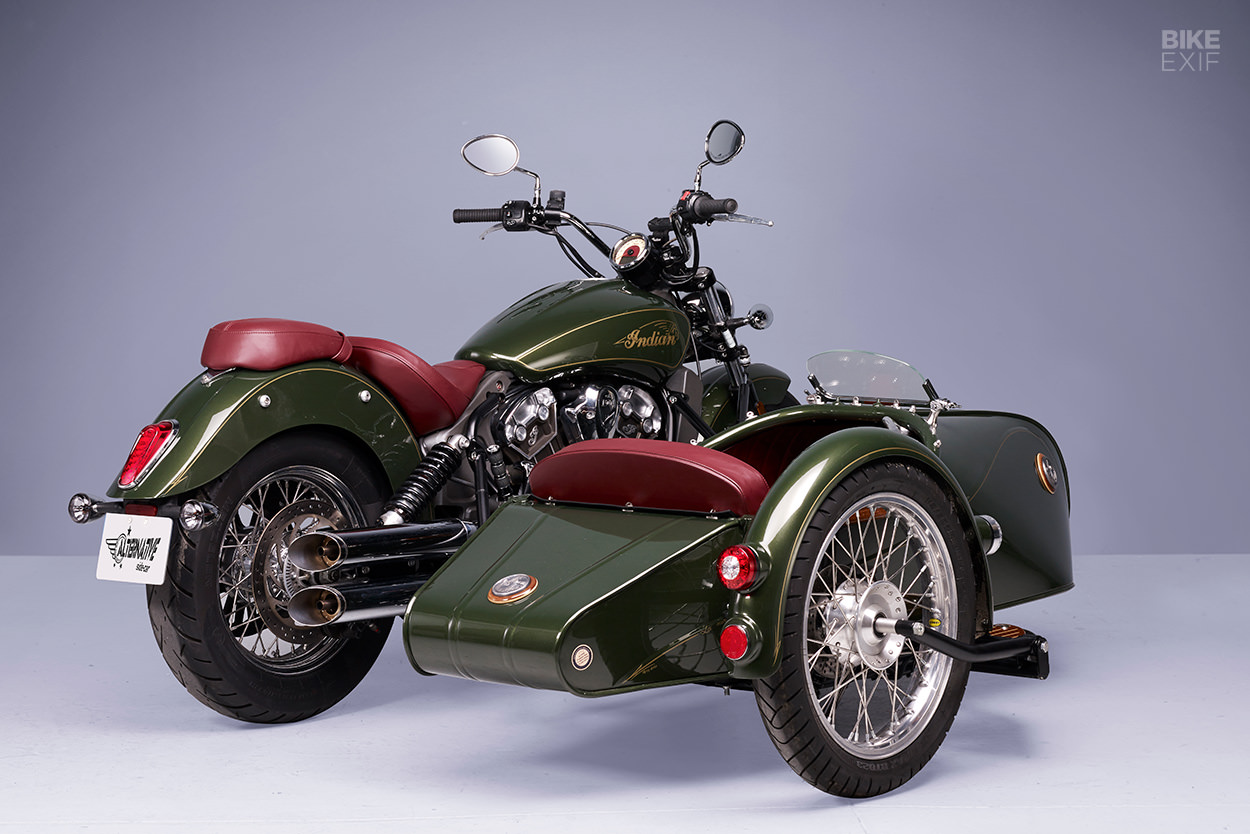 Indian Scout sidecar with wooden trim